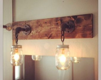 Rustic Modern Wood Handmade Mason Jar Light Fixture Pipe Chain In Home Garden Lamps Lighting Ceiling Fans Wall Fixtures
