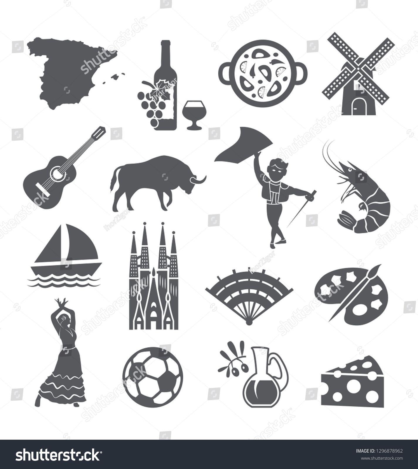 Spain Icons Set Spanish Traditional Symbols And Objects On White Sponsored Sponsored Set Spanis Icon Set Social Media Design Graphics City Illustration