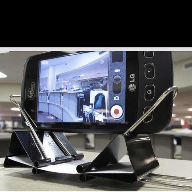 Diy Phone Stand, Binder Clip Hacks, Binder