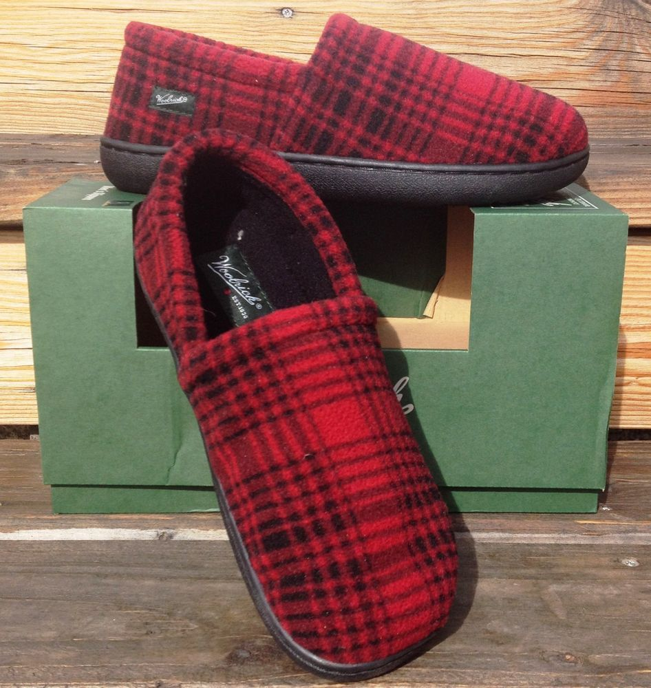 8fe8ff4cd1f Woolrich Chatham Run Moc Mens Slippers Hard Sole Red and Black Fleece SZ  8  - 13  Woolrich  MoccasinSlippers