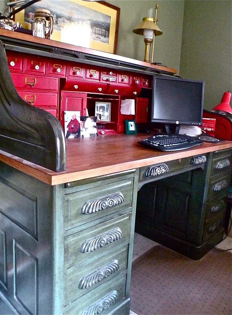 I Usually Shudder To Think Of A Wonderful Old Oak Roll Top Desk Being  Painted, But This One Has Great Appeal To Me. The Exterior Has A Polished  Slate Look ...