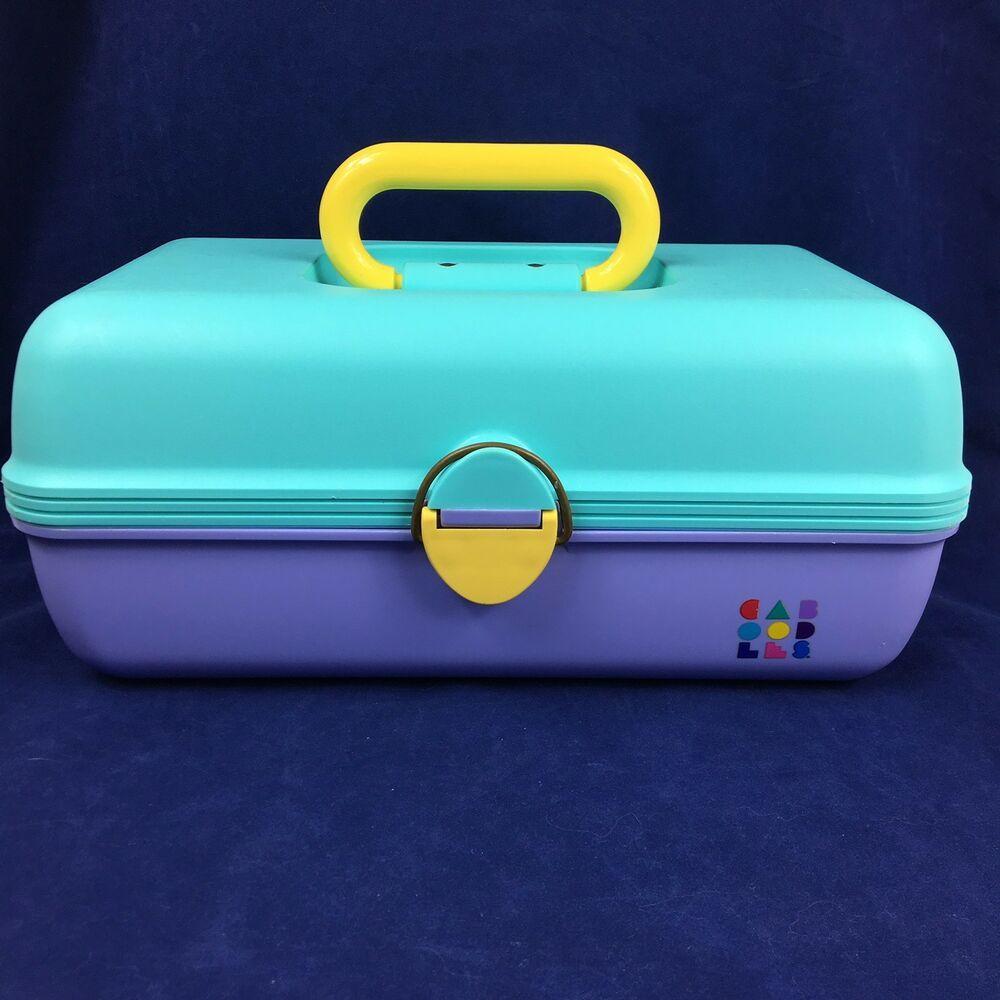 Vtg Caboodles Makeup Case Side Slide Trays Aqua Pastel ...