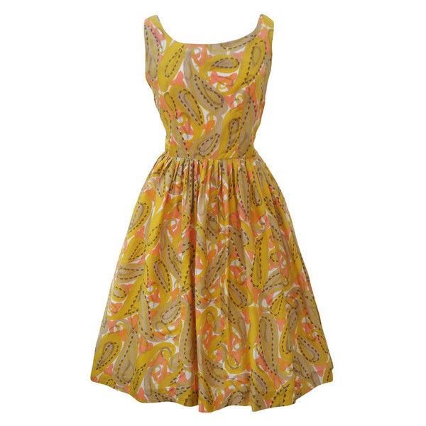 1950s mustard and peach vintage dress Love Miss Daisy ($120) ❤ liked on Polyvore