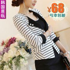 Nuevo 2013 mujeres del otoño de traje de chaqueta para mujer raya blanco y negro delgado ocasional de la chaqueta corta C030