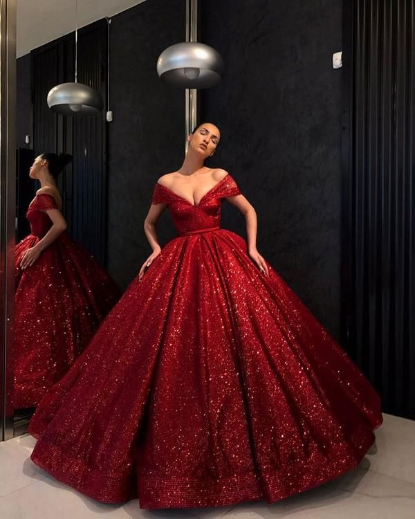 Off Shoulder Red Sparkly Ball Gown Cheap Long Evening Prom
