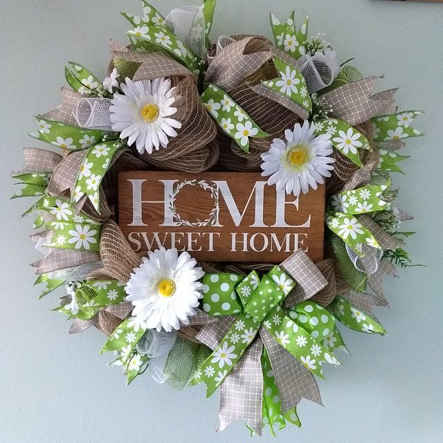 Photo of Sunflower Wreath, Purple Flower Wreath, Purple Wreath, Spring Wreath, Lavender Wreath, Floral Wreath, Sunflower, Door Wreath, Front Door Deco