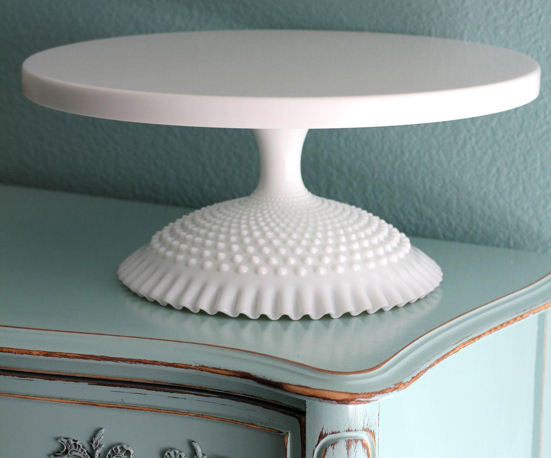 18 Wedding Cake Stand White Pedestal For Weddings Milk Glass