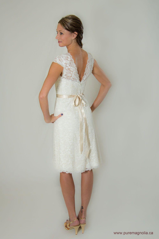 Lace Short Wedding Dress Cap Sleeves Low Back White Cotton Plus Size Custom Made Eco Friendly. $975.00, via Etsy.