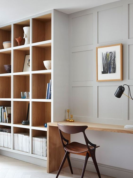 Minimalistic Modern Scandinavian Home Office With Design Chair And Abstract Art Cozy Home Office Home Office Decor Bookshelves Built In