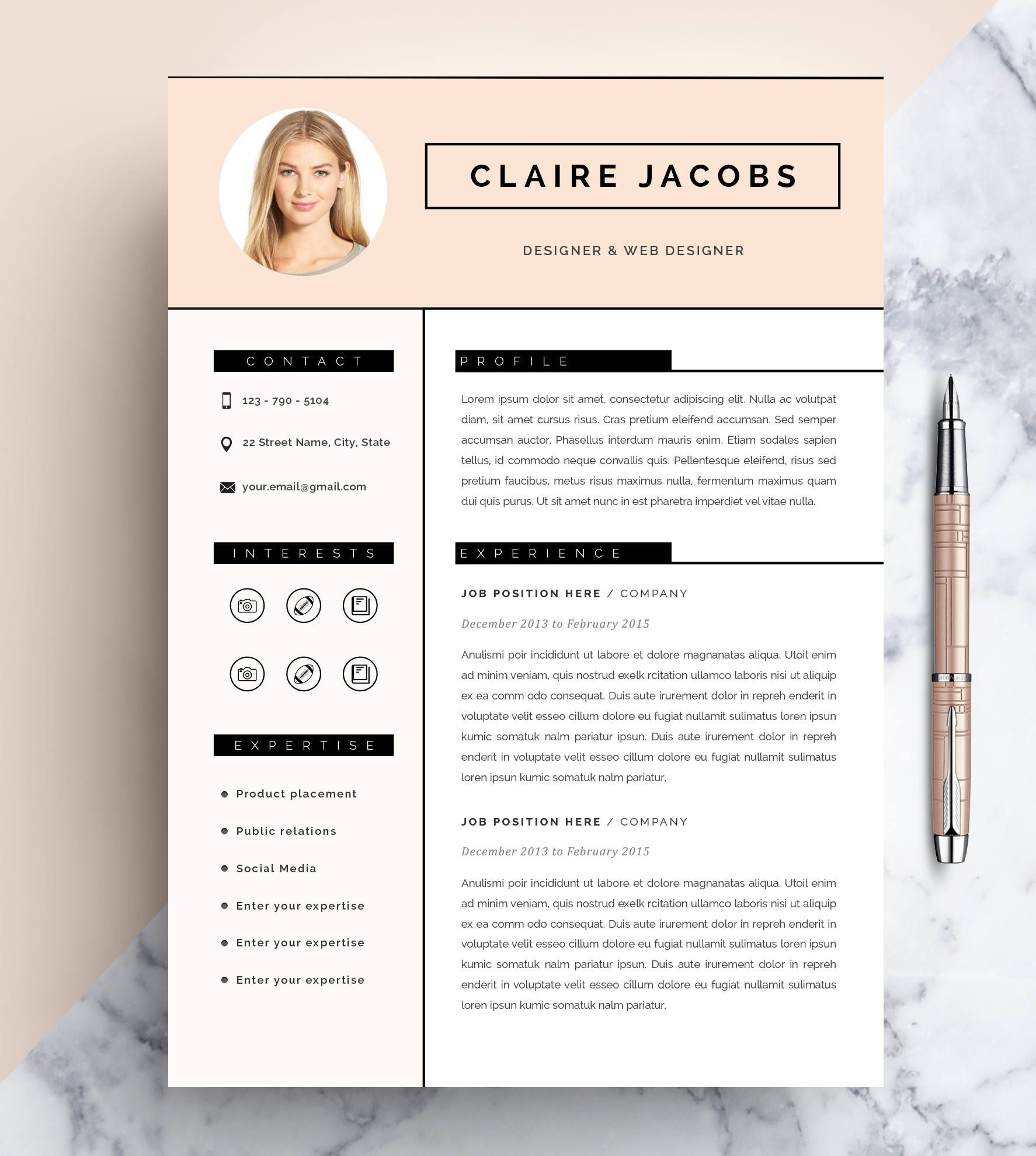 Creative Resume Template Cv Template Instant Download Editable In Ms Word And Pages Cover Letter Creative Resume Templates Creative Resume Resume Template