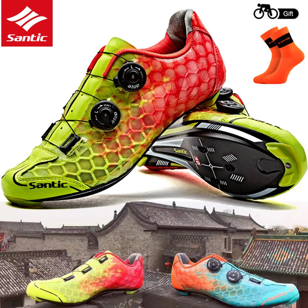 Santic Men Road Cycling Shoes Ultralight Carbon Fiber Auto Locking Athletic Racing Team Bicycle Shoes Cycling C Cycling Outfit Cycling Shoes Road Cycling Shoes