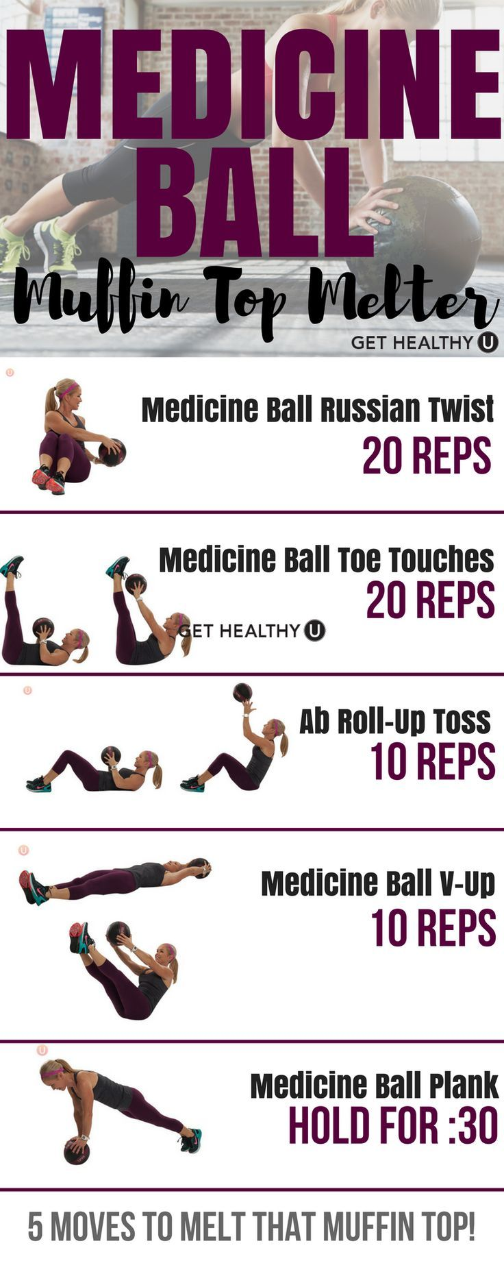 Medicine ball muffin top melter workout. Strengthen your abs back and core wit #fitness #exercises