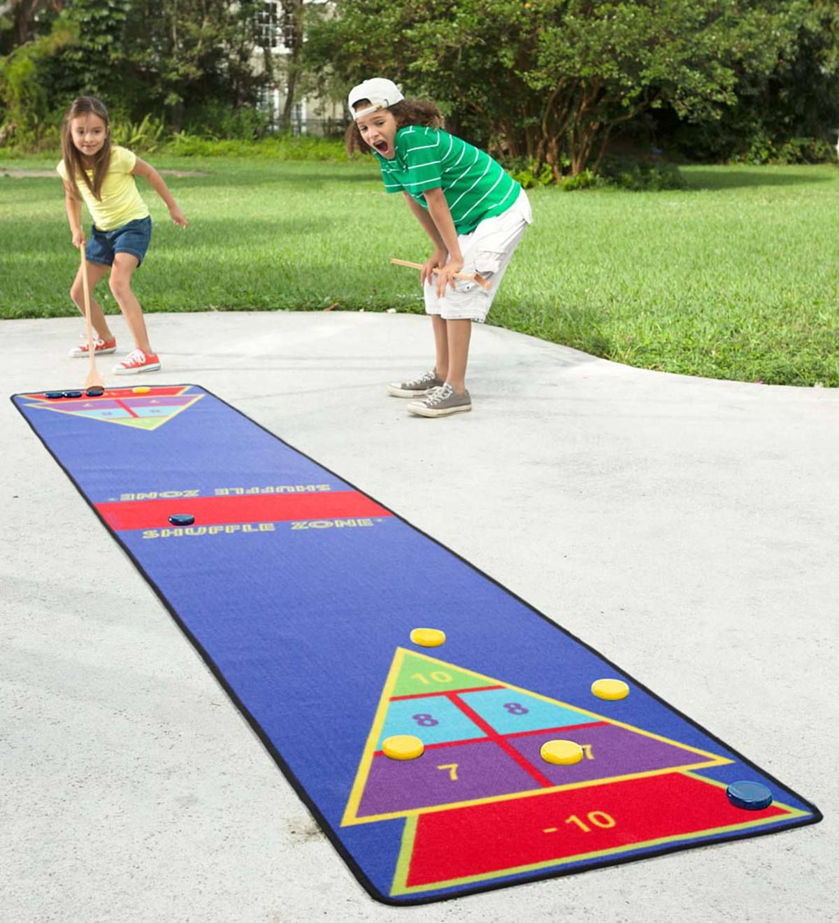 Families Can Enjoy A Classic Game Of Shuffleboard On Our Colorful Shuffle Zone Game Carpet Features A Non Ski Shuffleboard Outdoor Games For Kids Family Games