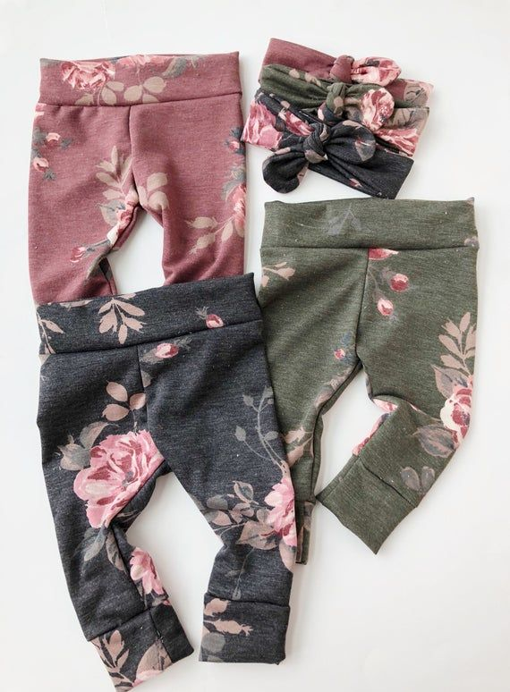Photo of Floral French terry-Baby leggings newborn leggings toddler leggings baby boy leggings baby girl leggings newborn leggings