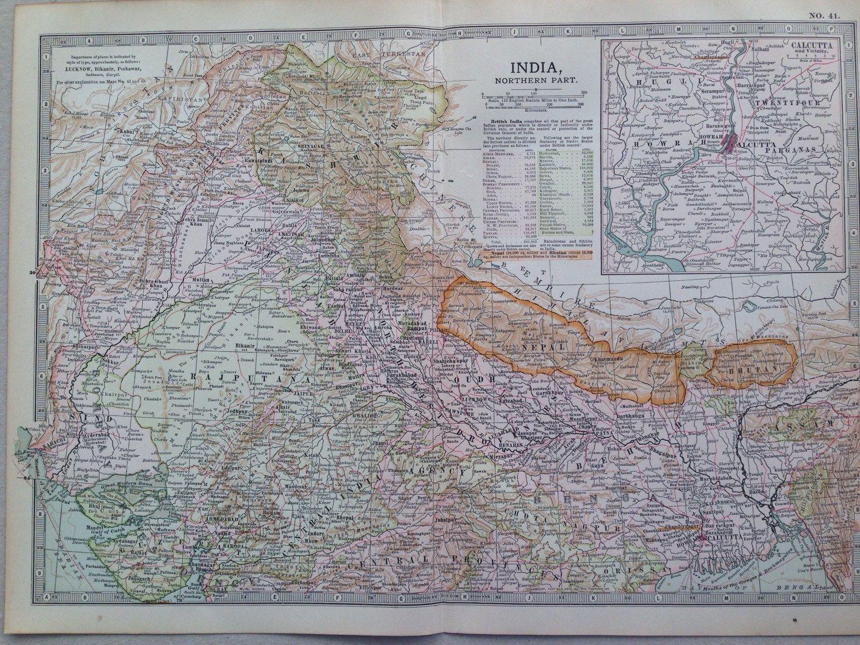 1903 INDIA Northern part map antique original