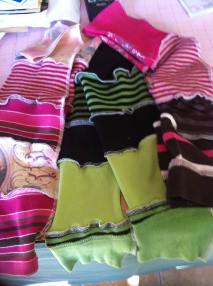 kids one-of-a-kind upcycles (arm warmers $10) www.penelopepicklebottoms.com