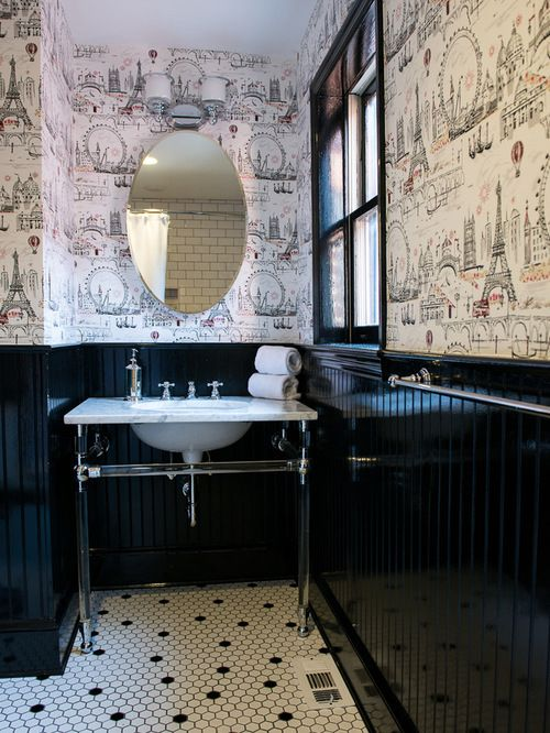 Black Beadboard Ideas Pictures Remodel And Decor Black Wainscoting Traditional Bathroom Wainscoting Bathroom