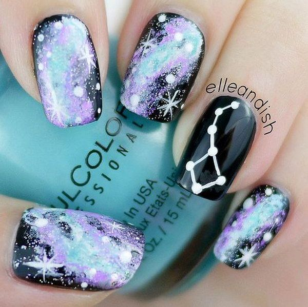 Unique Nail Art Designs: Galaxy Constellation Nails