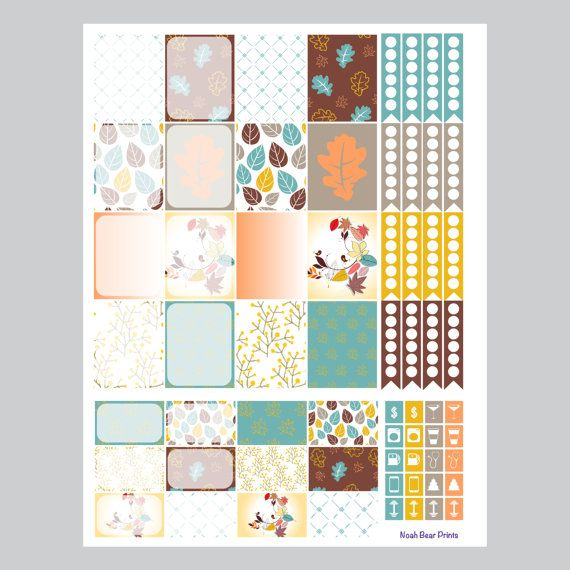 Fall Leaves Planner Stickers Full Page by NoahBearPrints on Etsy