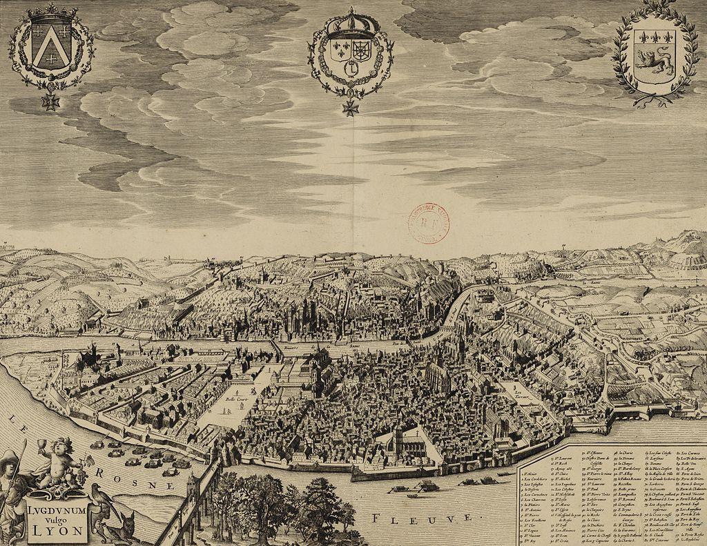 Lyon au xviie siècle, carte anonyme conservée à la Bibliothèque