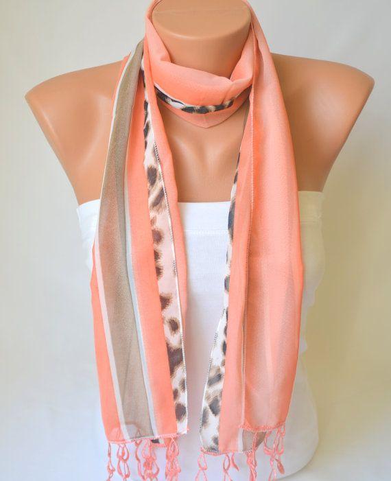 coral chiffon scarf   chiffon fashion scarf valentines by bstyle, $15.00