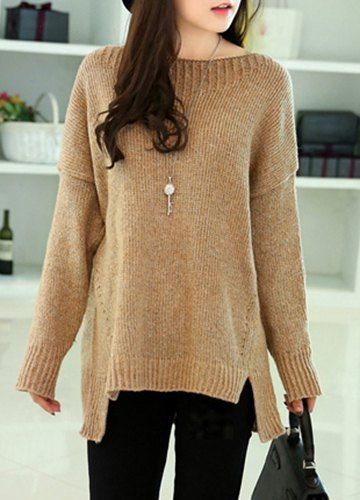 Chic Round Neck Long Sleeve Asymmetrical Loose-Fitting Sweater For Women