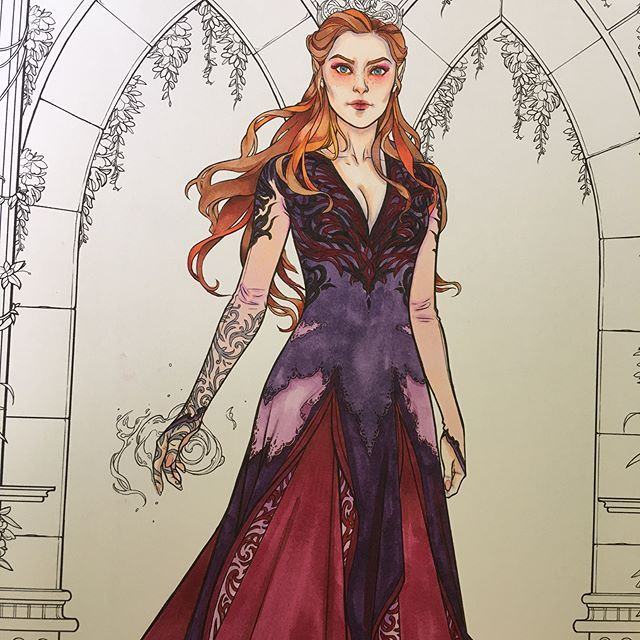 Wip Of Feyre From The A Court Of Thorn And Roses Coloring Book