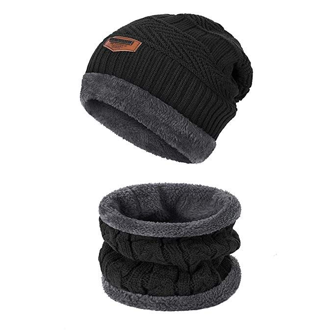 5a68cb237568c Winter Beanie Hat Infinity Scarf Set ADUO Warm Knit with Thick Fleece Lined  Hat   Scarf For Men Women Review