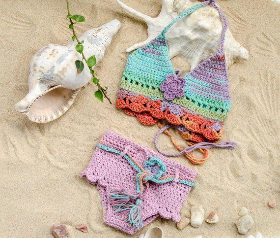 Bikini für Baby, Kleinkind Mädchen Badeanzug, Crchet Baby Mädchen Badeanzug, Kleinkind Mädchen ......