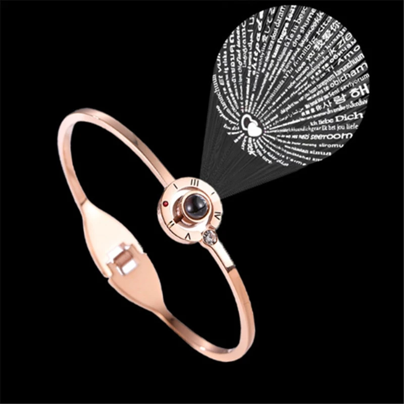 I Love You in 100 Languages Rose Gold Memory Bracelet Jewelry Gifts For Women