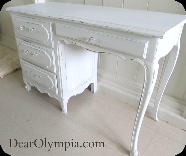 Antique Shabby Chic Desk. Fusion Mineral Paint / Antique Shabby Chic Desk |  desk | antique | refinished furniture| shabby chic furniture paint |  restoration ... - Picket Fence Refinished Furniture, Dark Wax And Oahu