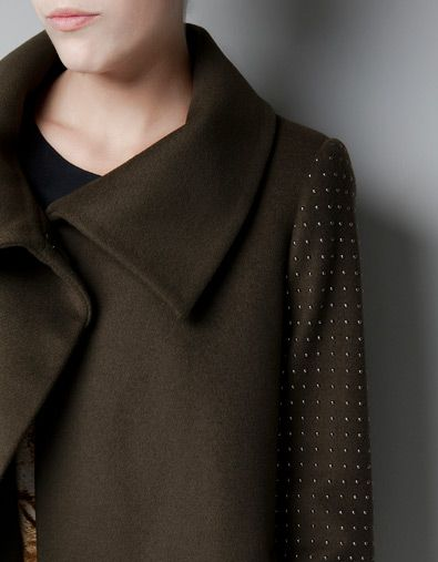 Zara: COAT WITH APPLIQUÉS ON THE SLEEVES