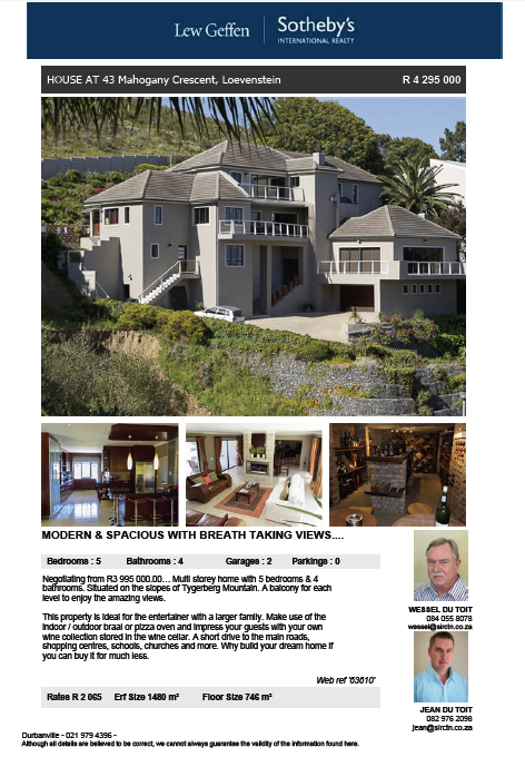43 Mahogany Crescent, Loevenstein House styles, Mansions
