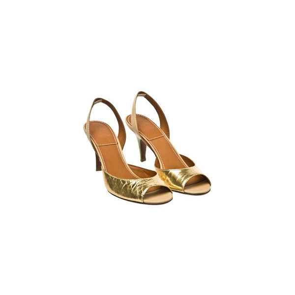 Lanvin Metallic sling back ($255) ❤ liked on Polyvore featuring shoes, sandals, lanvin shoes, peep toe sandals, metallic gold sandals, slingback shoes and sling back shoes