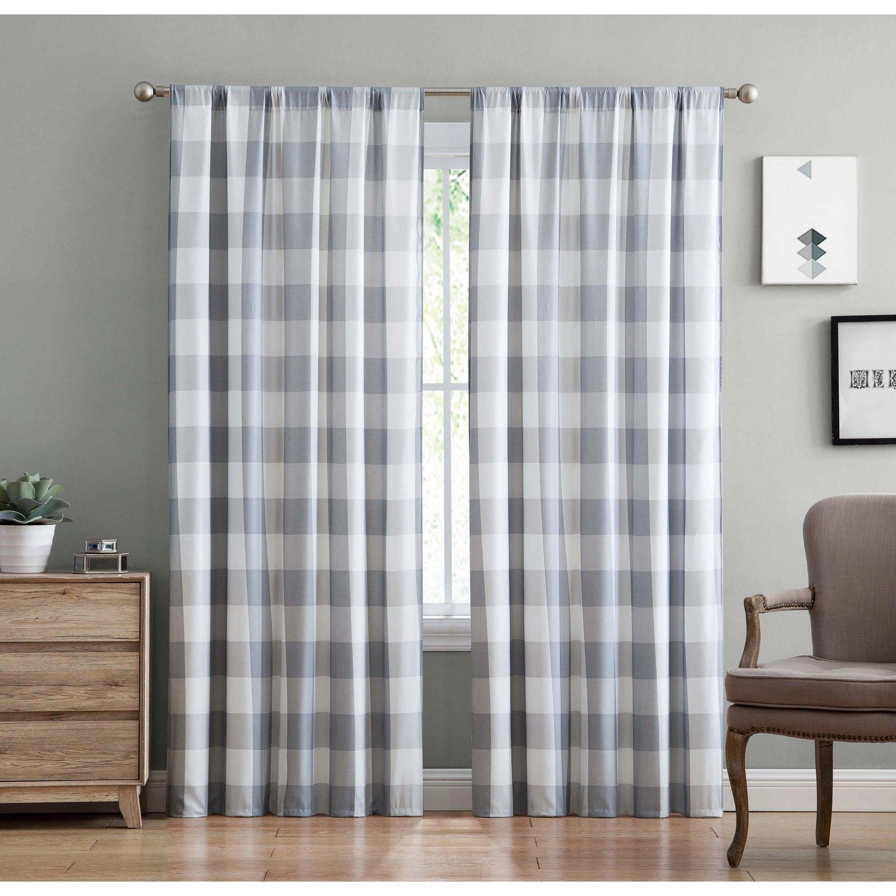 Truly Soft Everyday Buffalo Plaid Gray Drape Set Grey And White Curtains Plaid Curtains Buffalo Plaid Curtains