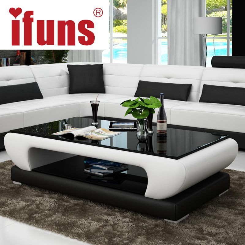 Ifuns Living Room Furniture Modern New Design Coffee Table Glass