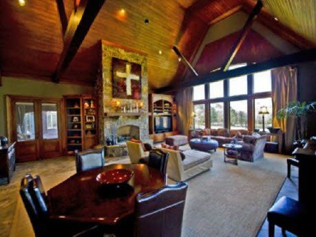 Love the cross above the fireplace
