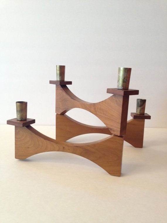 Mid Century Modern Scandinavian Candle Holder Rich Wood Etsy Scandinavian Candle Holders Scandinavian Candles Candle Holders