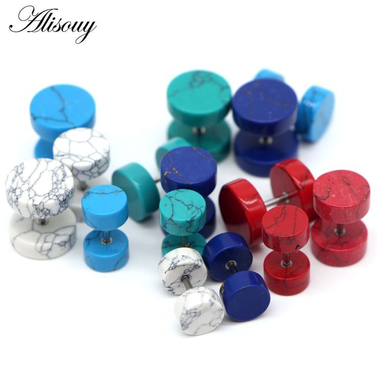 Alisouy 1pc stone fake ear plug ear tunnels cartilage piercing studs tragus punk ear stud earrings body jewelry men