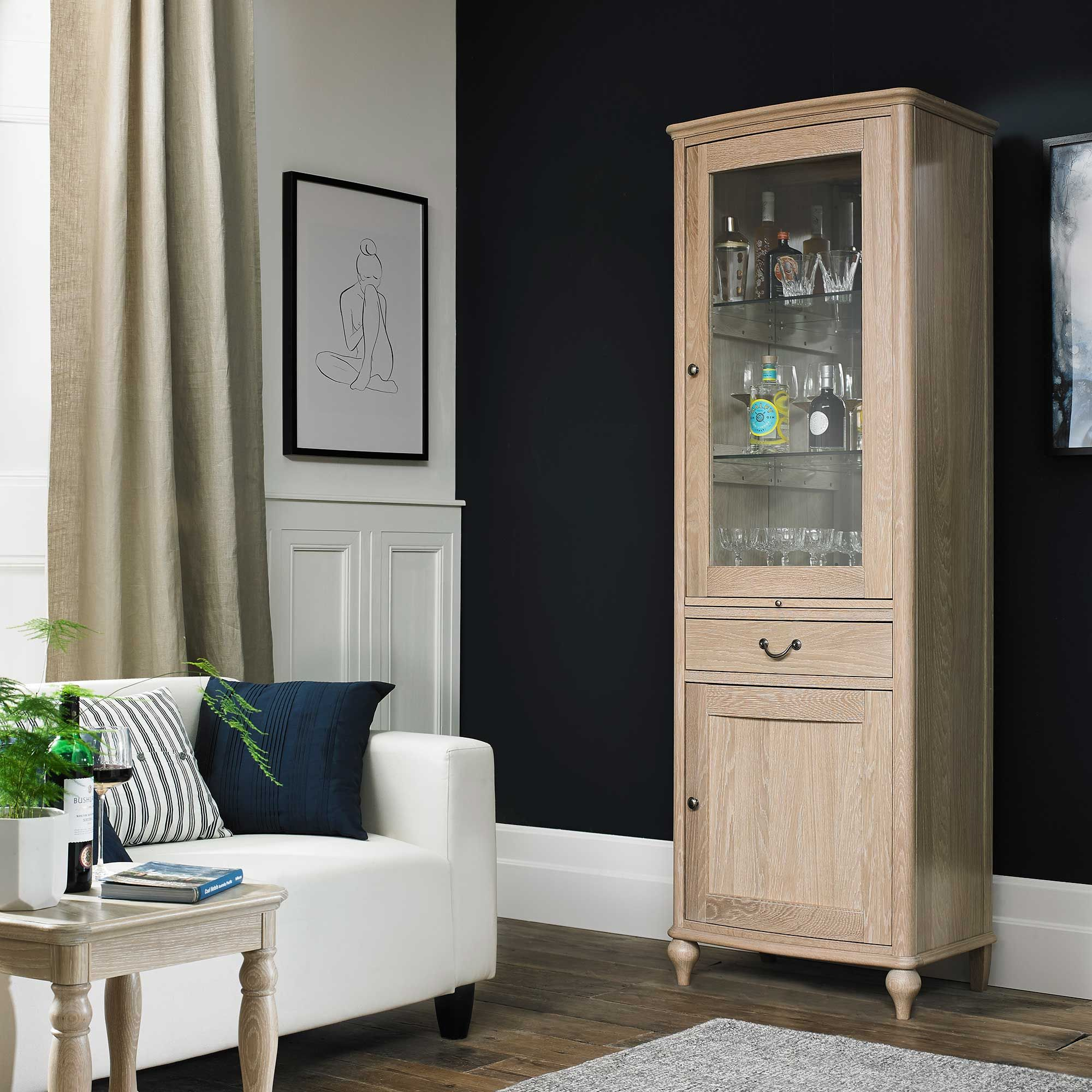 Charente Drinks Cabinet Chalk Oak