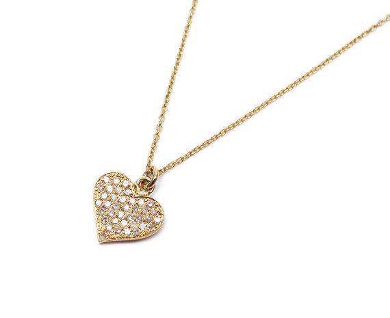 Diamond necklace. Yellow gold Diamond heart by WeddingRings585