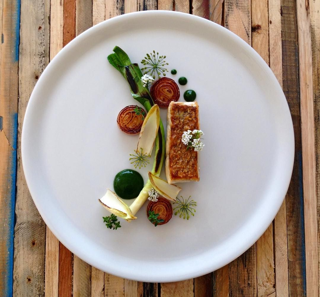 Snapper charred leek chicory shallots and watercress for Fine dining food