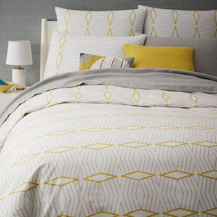 Organic Diamond Stripe Duvet Cover Shams Bed Linen Design Bed Linens Luxury Striped Duvet Covers