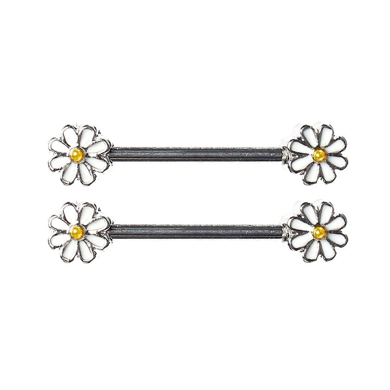 Nipple Ring Spring Daisy Flower Nipple Barbell Ring Blossom Pair