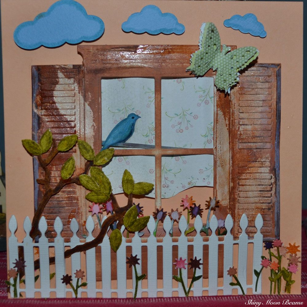 Highly Distressed Window Box with Bird and Clouds Scene Made with Poppy/Memory Box Dies, Tim Holtz Bird and Branch Die, Butterfly from EK Punches