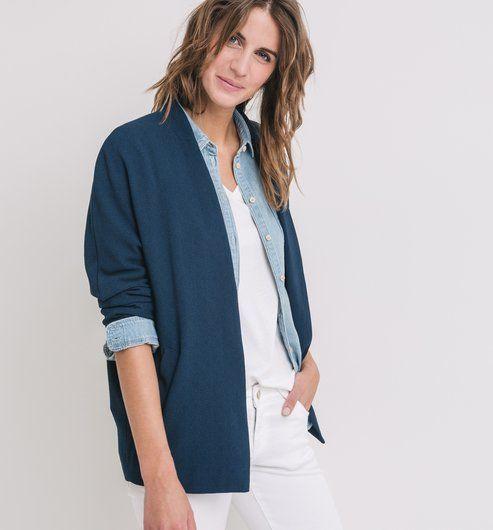 Veste de blazer femme bleu marine
