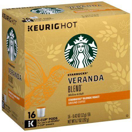 Starbucks Blonde Roast K Cup Coffee Pods Veranda Blend For Keurig Brewers 1 Box 16 Pods Walmart Com Coffee K Cups Blended Coffee Starbucks