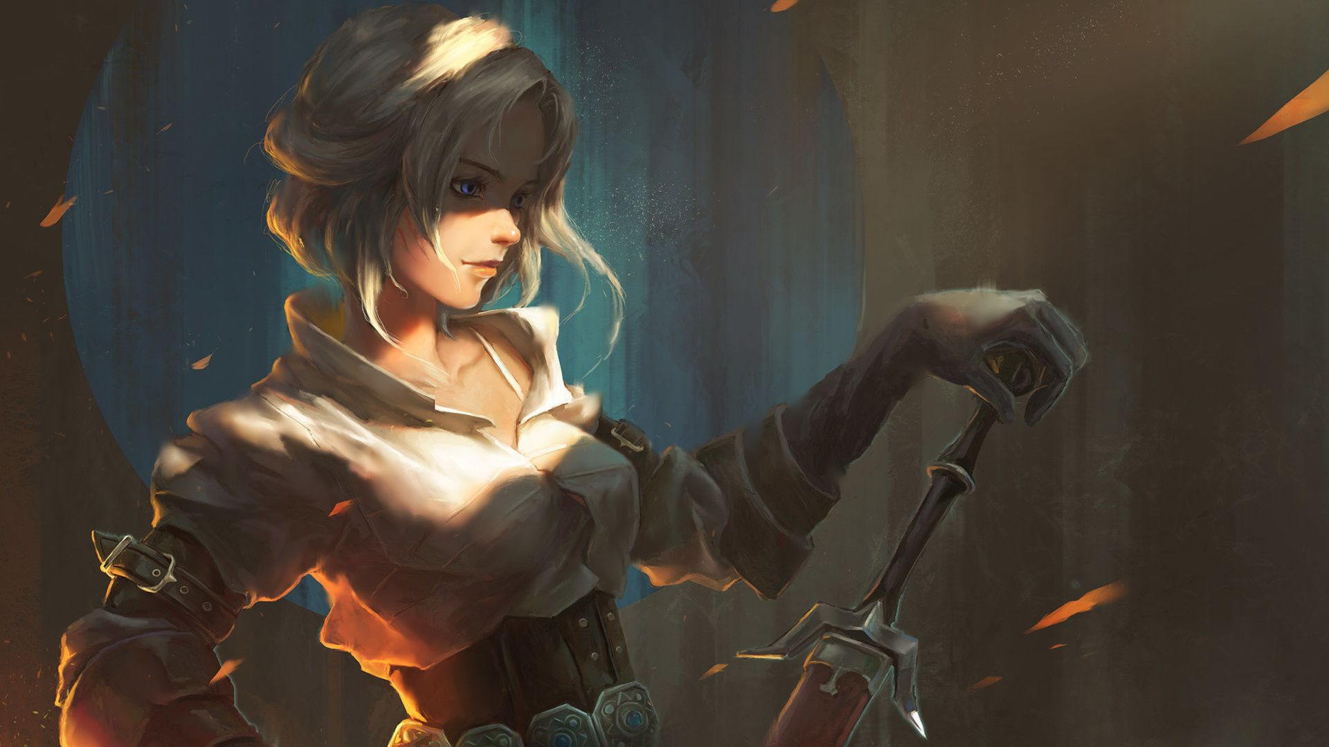 Wallpaper The Witcher 3 Ciri Painted Sword 1920x1080 The Witcher