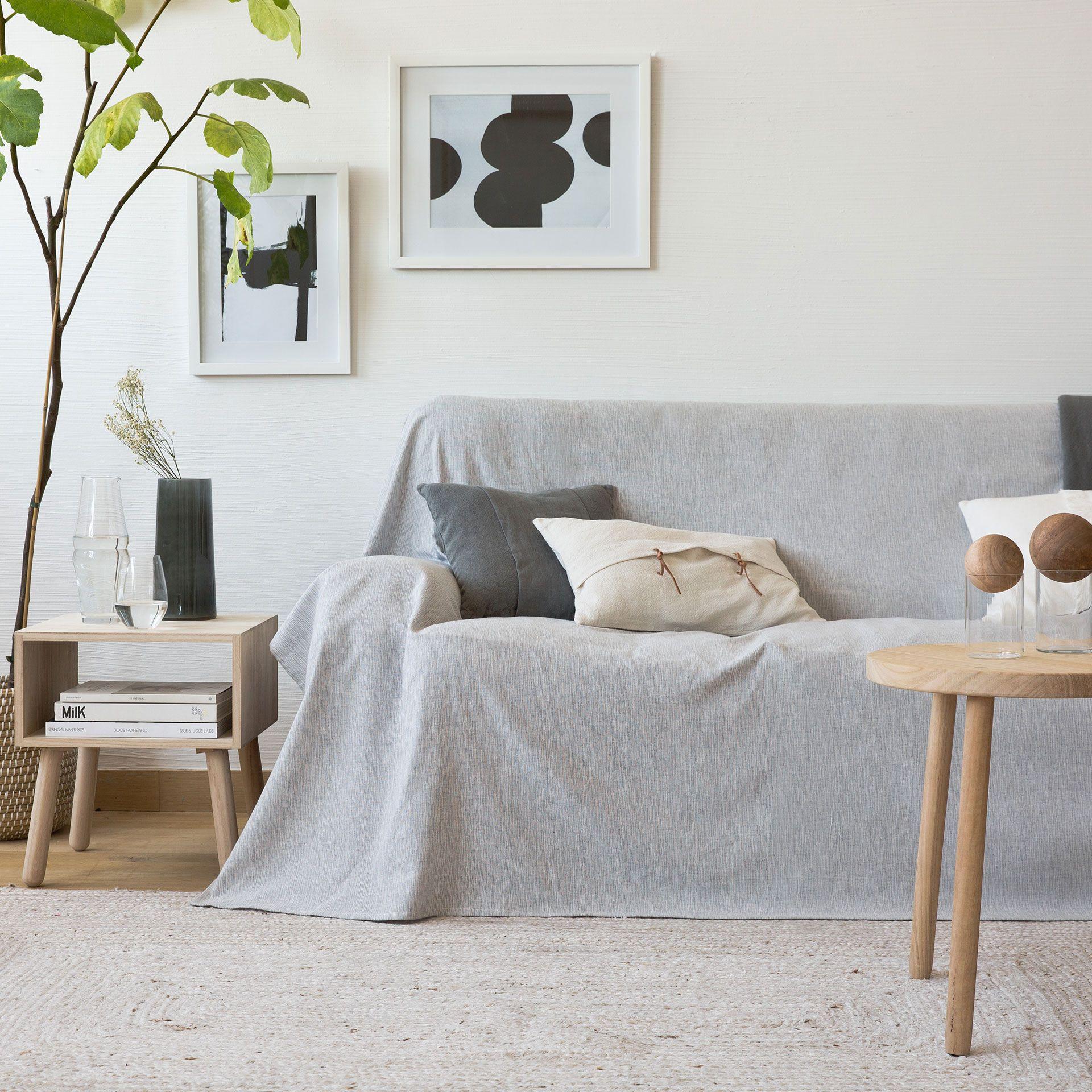 Colcha multiusos efecto m lange color gris azulado - Colchas cama zara home ...