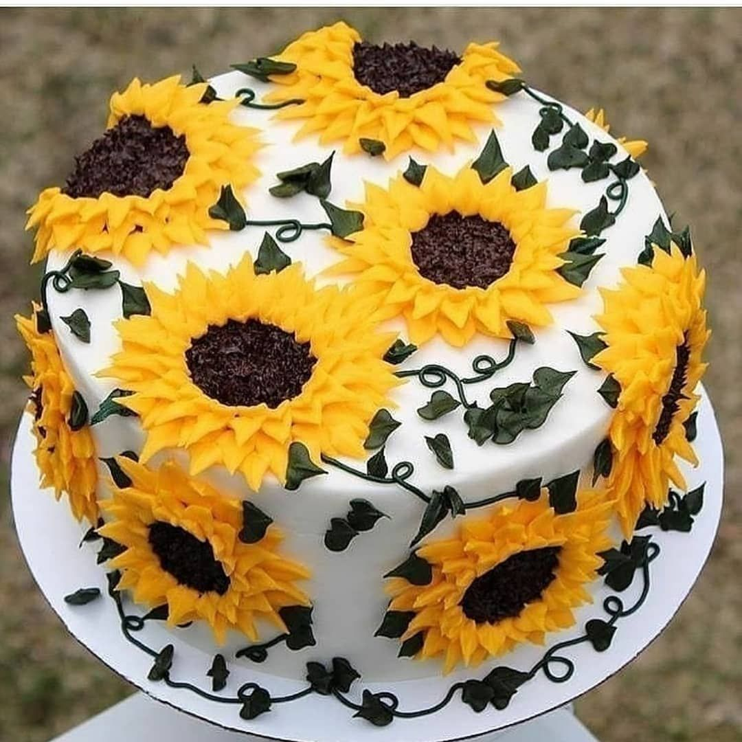 "Sunflower Wedding Cake Ideas: AmourDuCake On Instagram: ""Yes Or No? Flowers Cake🌼🌸💐by"